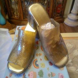 New Gold Sparkle Slides S